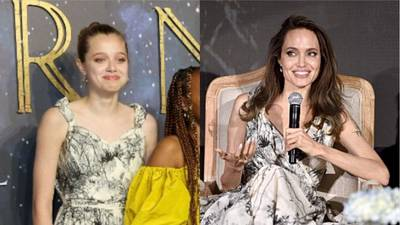 Angelina Jolie's daughter Shiloh borrows mom's Dior dress to 'Eternals' UK premiere